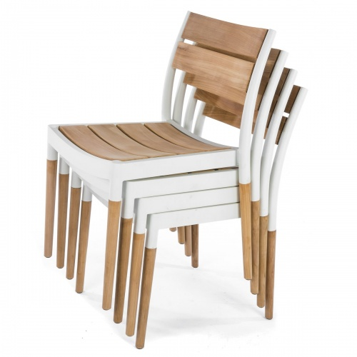stacking sidechairs made of cast aluminum and teakwood