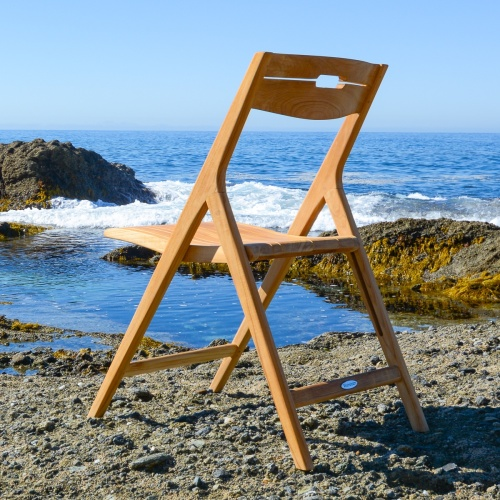folding mid century modern teak chairs