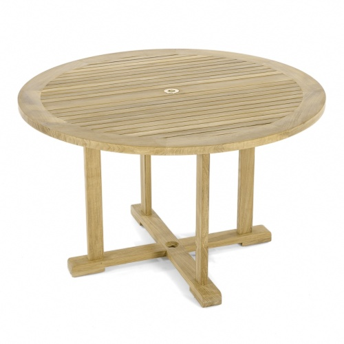 medium round teak outdoor dining table
