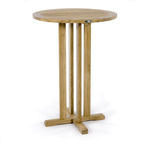 high round bar table teak
