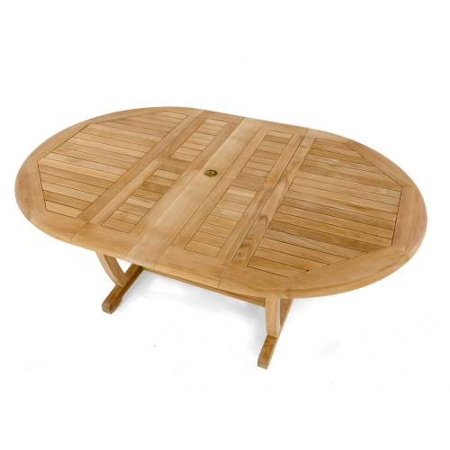 oval teak table extendable