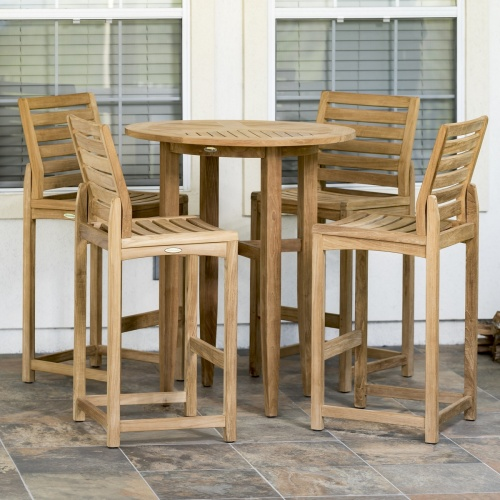 teak wooden outdoor bar set for 4
