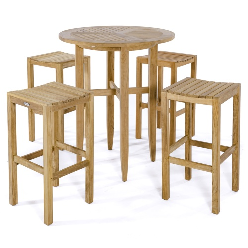 5 piece square teak wood patio bar set