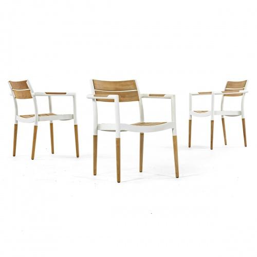 aluminum frame teak dining chairs