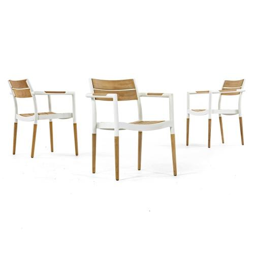 teak and aluminum dining chair