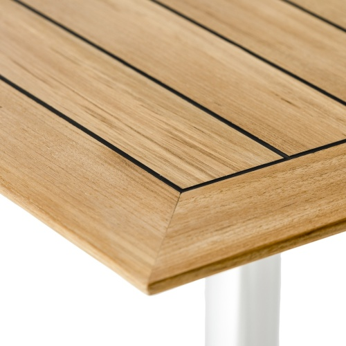 square teak stainless table