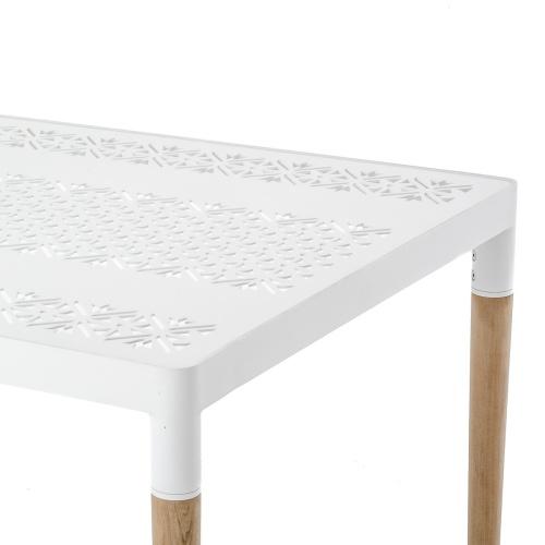 cast aluminum and teak outdoor table