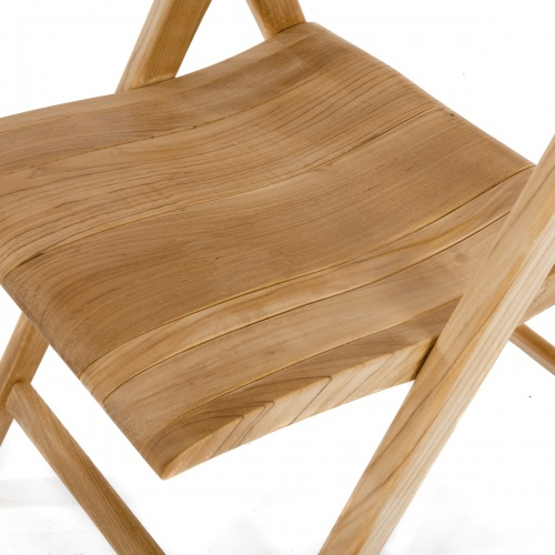 contoured folding teakwood chair