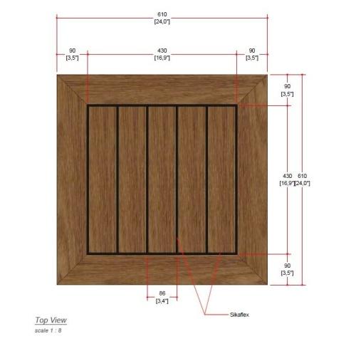 24 square teak table top