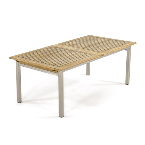 extension teak stanless steel tables