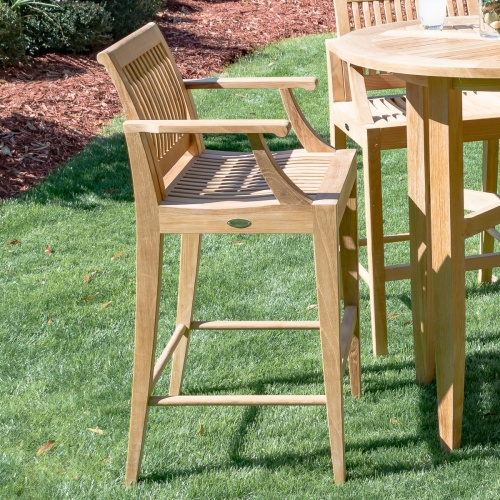teak barstools and tables