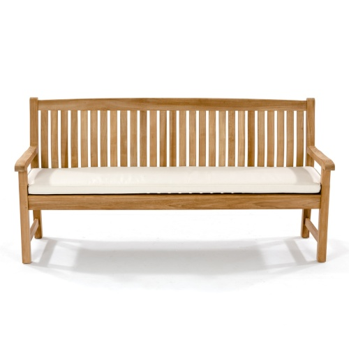 outdoor teak bench with cushion