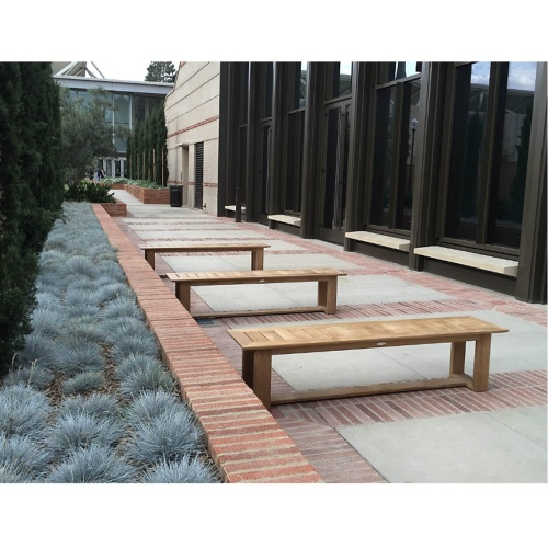 bacless outside teakwood sitting bench