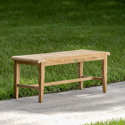 Wood Backless Bench With Cushon