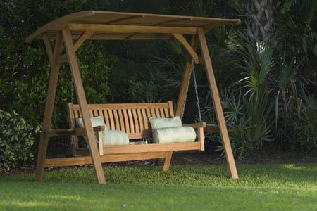 teak swing benches