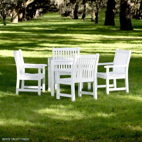 white teakwood outdoor bistro set