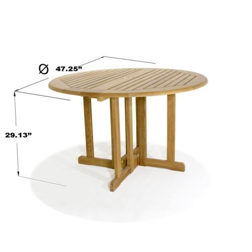48 Inch Teak Folding Table