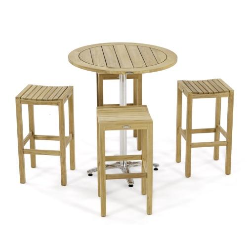 backless teak stainless steel cafe bar set