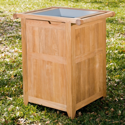 exterior grade trash can teak