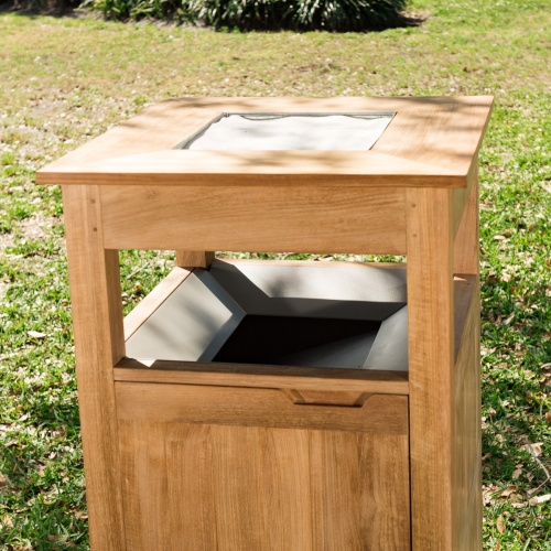 teak trash can outdoor