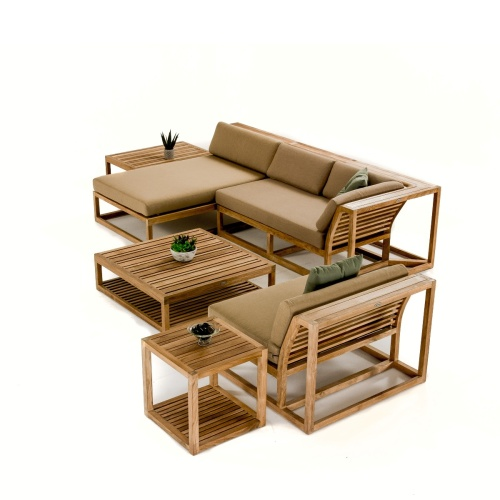 square teakwood outdoor ottoman