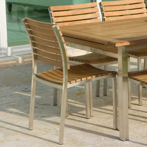 Stainless and Teak Sidechair Set For 4