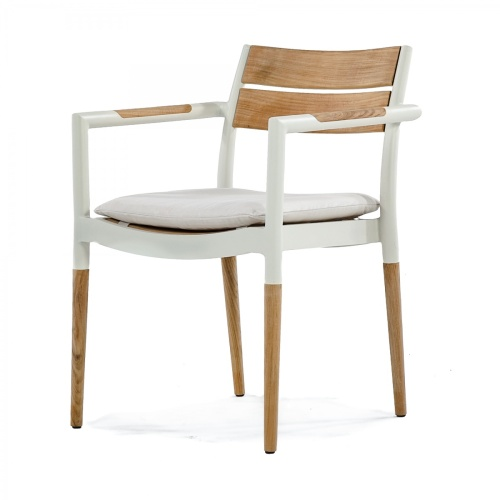 low back teak and aluminum dining chairs