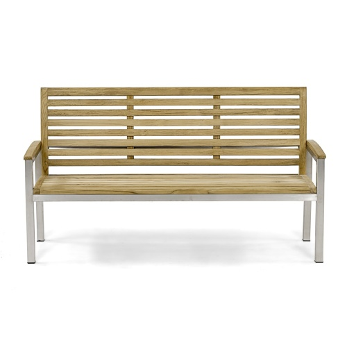 stainless steel and teak patio bench