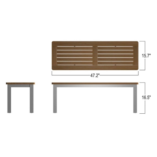 backless teak stainless bench outdoor