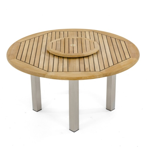 sealed teak round dining table