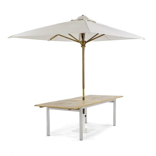 teak stainless steel dining table