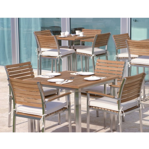outdoor wood square table teak