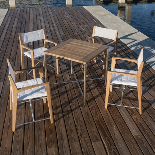 Yacht Teak and Stainless Square Sets