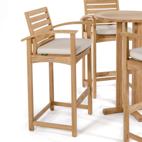 teak outdoor barstools and tables