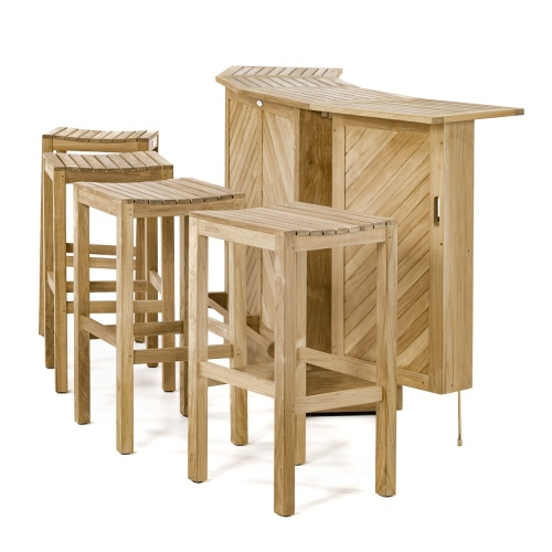 bar stool teakwood set for 4