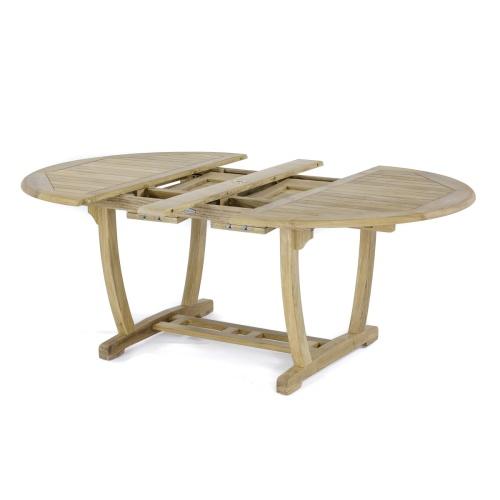 oval teak dining table