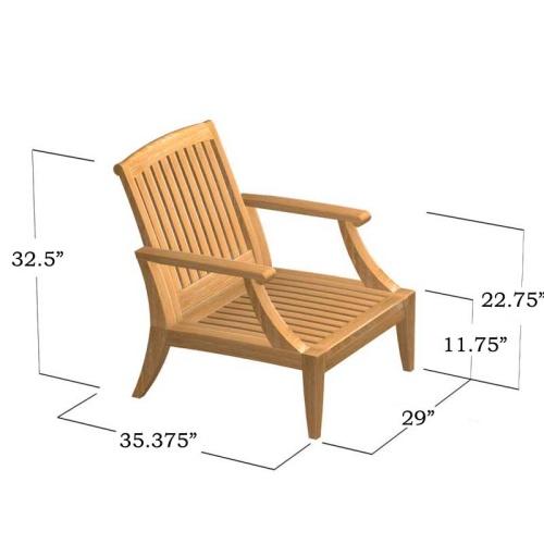 deep seating teak lounge chairs