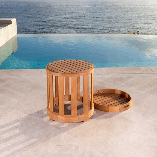 teak garden side tables with serving tray