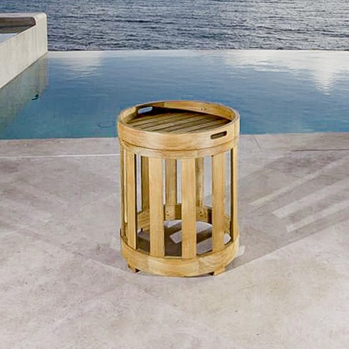 round teak side tables