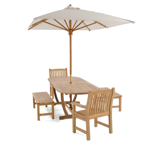 outdoor teak furniture set with umbrella