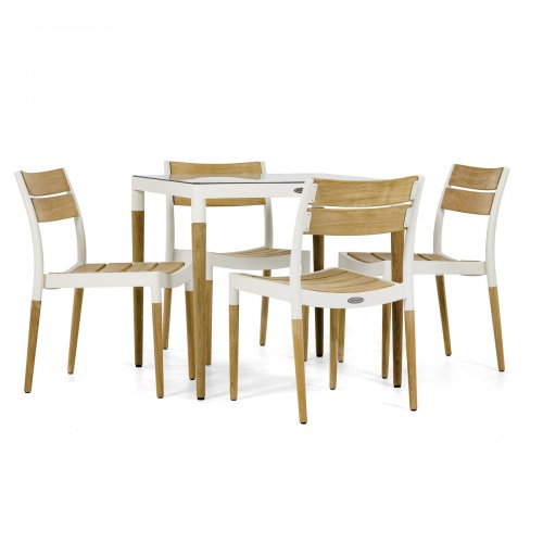 modern cast aluminum dining set outdoors