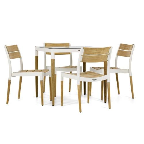 modern cast aluminum dining set outdoors