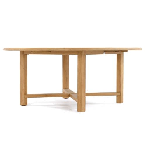 teak wide base round table