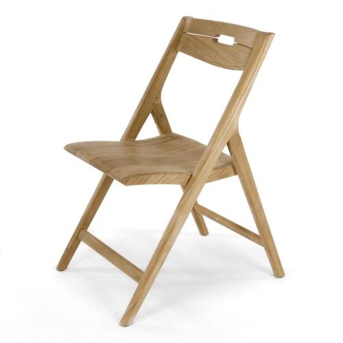 fine teak folding side chair