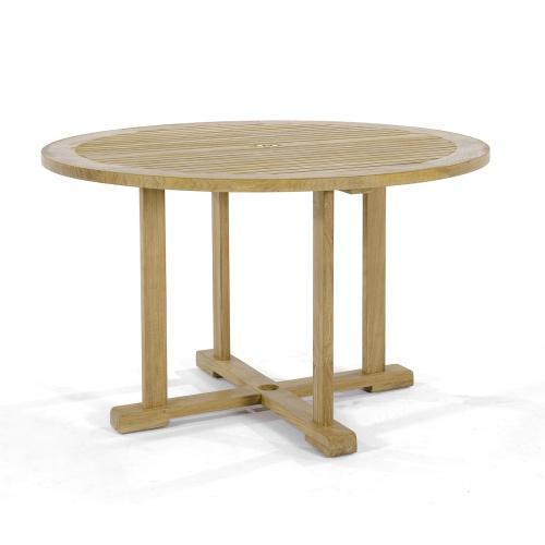 round table teak dining
