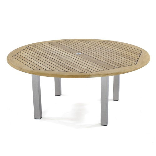 72 round outside table teak and stainless steel