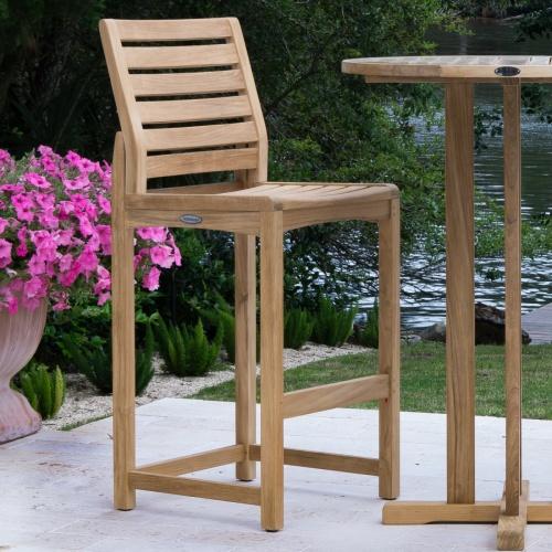 sturdy teak outdoor bar stool