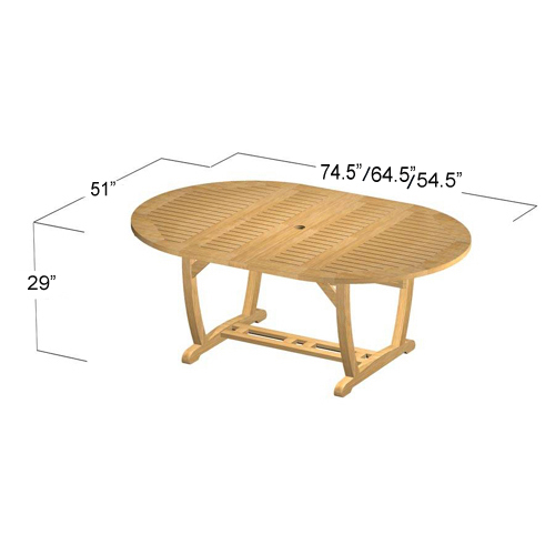 teak double extendable oval patio dining set table
