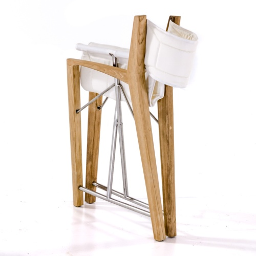 teak directors chairs with white fabric