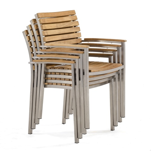 grade a teak wood and steel luxurious stacking arm chairs